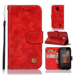 Premium Vintage Leather Wallet Shell Case for Nokia 1 - Red