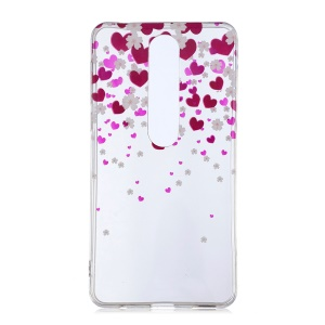 For Nokia 6.1 (5.5-inch) IMD Patterned TPU Case - Hearts Pattern