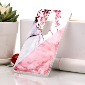 Marble Pattern IMD TPU Phone Casing for Nokia 6.1 (5.5-inch) - Pink Flower