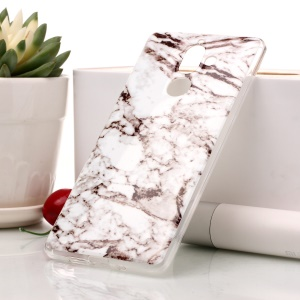 Marble Pattern IMD TPU Gel Case for Nokia 7 plus - White / Grey