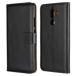 Genuine Leather Wallet Stand Phone Case for Nokia 7 plus - Black