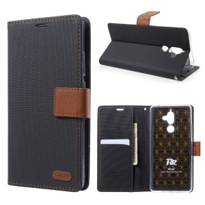 ROAR KOREA Twill Leather Wallet Stand Case for Nokia 7 plus - Black