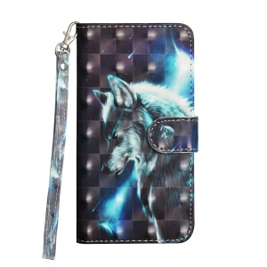 Pattern Printing Wallet Stand Leather Phone Case for Nokia 7 plus - Wolf