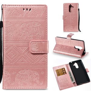 Imprinted Elephant Magnetic Leather Wallet Mobile Phone Case for Nokia 7 plus - Rose Gold