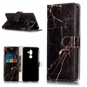 Pattern Printing Wallet Leather Stand Case for Nokia 7 plus - Black Marble