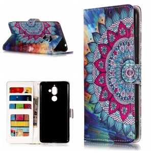 Embossing Pattern Leather Wallet Stand Mobile Casing for Nokia 7 plus - Mandala Flower
