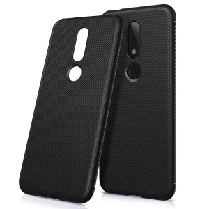 For Nokia 6.1 Plus / X6 Twill Texture TPU Back Mobile Cover - Black