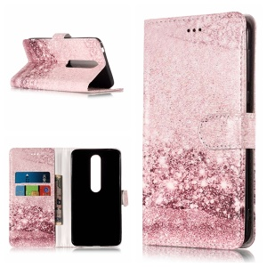 For Nokia 6.1 (5.5-inch) Pattern Printing Leather Wallet Case with Stand - Glittering Rose Gold