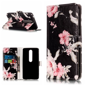 For Nokia 6.1 (5.5-inch) Pattern Printing Leather Wallet Mobile Phone Casing with Stand - Azalea Flower