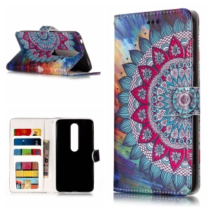Embossment Patterned Wallet Stand Leather Cellphone Cover Case for Nokia 6.1 (5.5-inch) - Mandala Flower