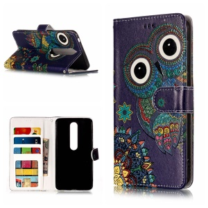 Embossment Patterned Wallet Stand Leather Phone Casing Shell for Nokia 6 6.1 (5.5-inch) - Cute Owl