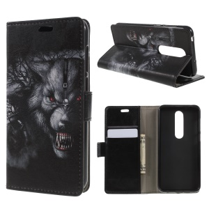 Fierce Wolf - Pattern Printing Stand Leather Wallet Flip Case for Nokia 6.1 Plus / Nokia X6