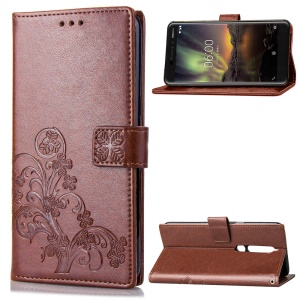 Imprint Clover Pattern Leather Wallet Case Shell Cover for Nokia 6.1 (5.5-inch) - Brown