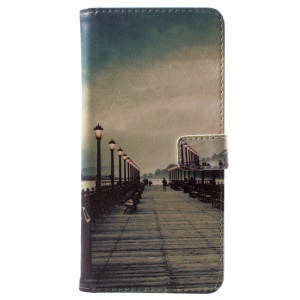 For Nokia 6.1 Plus / X6 Pattern Printing Wallet Stand Leather Casing - Dock at Sunset