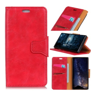Crazy Horse Magnetic Split Leather Stand Wallet Phone Casing for Nokia 6.1 Plus / X6 - Red