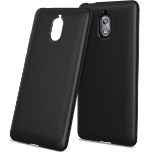 For Nokia 3.1 Twill Texture TPU Back Mobile Cover - Black