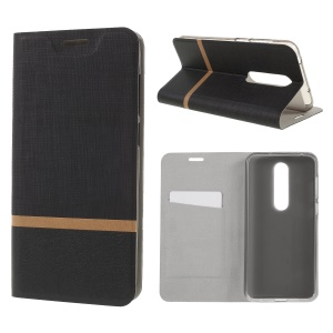 Cross Texture Card Holder Leather Mobile Phone Casing for Nokia 6.1 Plus / X6 - Black