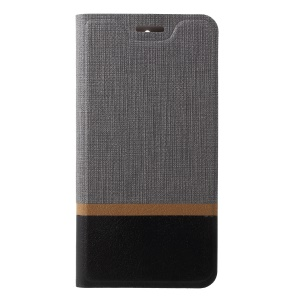Cross Pattern Bi-color Card Slot Leather Case Accessory for Nokia 3.1 - Grey