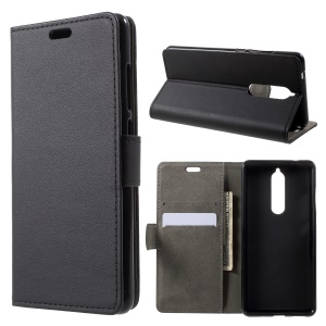 PU Leather Stand Wallet Mobile Phone Shell for Nokia 5.1 - Black