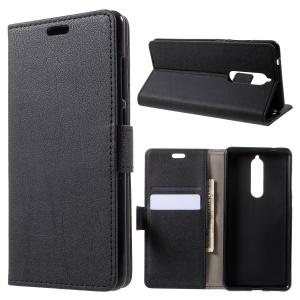 PU Leather Magnetic Wallet Mobile Phone Shell for Nokia 5.1 - Black