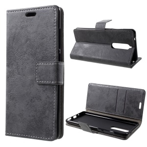 Vintage Style Wallet Stand Leather Mobile Case for Nokia 5.1 - Grey