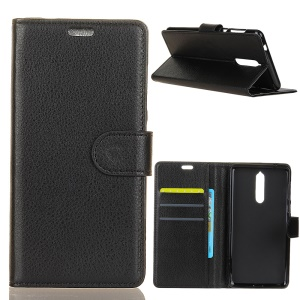 Litchi Texture Wallet Stand Leather Protection Phone Cover for Nokia 5.1 - Black