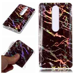 Marble Pattern Electroplated IMD TPU Back Cover for Nokia 6.1 (5.5-inch) - Black