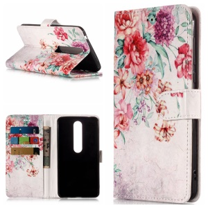 Pattern Printing Magnetic Leather Stand Case for Nokia 6.1 (5.5-inch) - Vivid Flowers