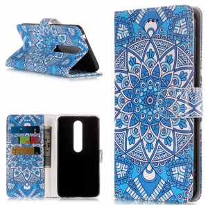 Pattern Printing Leather Wallet Case Phone Shell for Nokia 6.1 (5.5-inch) - Blue Flower