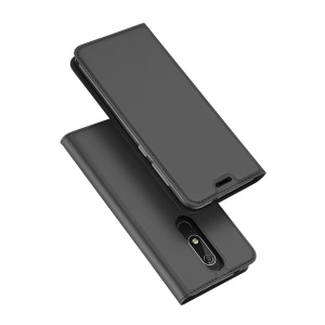 DUX DUCIS Skin Pro Series Leather Stand Card Holder Case for Nokia 5.1 - Dark Grey