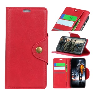 PU Leather Wallet Stand Mobile Phone Cover for Nokia 5.1 - Red