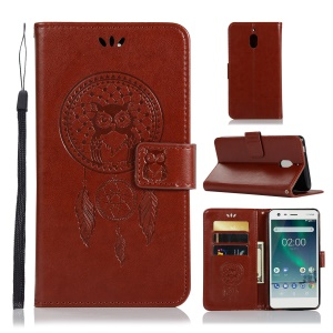 For Nokia 2.1 Imprint Owl Dream Catcher Wallet Stand Leather Cell Phone Case - Brown