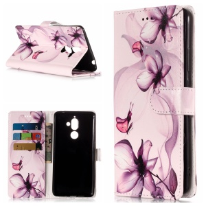 Pattern Printing Wallet Stand Leather Phone Case for Nokia 7 plus - Purple Flower
