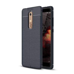 Litchi Texture Soft TPU Protective Shell for Nokia 5.1 - Dark Blue