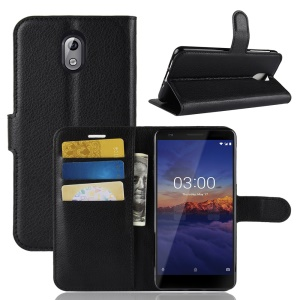 Litchi Skin PU Leather Protection Phone Case with Stand for Nokia 3.1 - Black