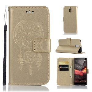 Imprint Owl Dream Catcher Wallet Stand Leather Casing for Nokia 3.1 - Gold
