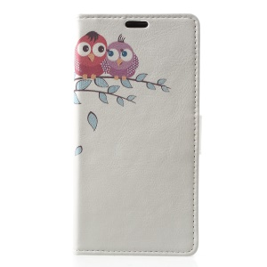 Pattern Printing Wallet Stand Leather Cover for Nokia 5.1 Plus / Nokia X5 - Two Little Owls on Branch