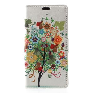 Patterned Wallet Stand Leather Case Accessory for Nokia 5.1 Plus / Nokia X5 - Flowers Tree with Fruits