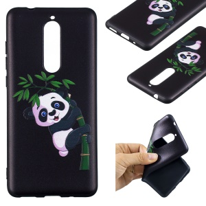 For Nokia 5.1 Embossment Patterned Flexible TPU Mobile Cover - Panda and Bamboo