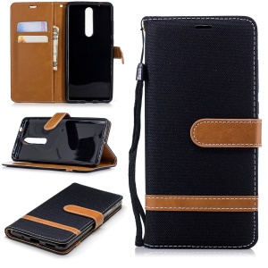 Jeans Cloth Texture Wallet Stand Leather Case for Nokia 5.1 - Black