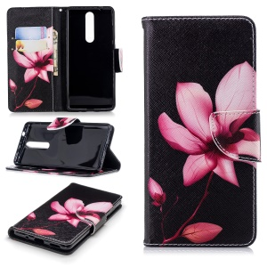 Pattern Printing Wallet Leather Stand Cover for Nokia 5.1 - Flower Pattern