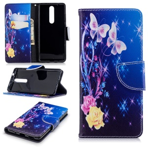 Pattern Printing Magnetic Leather Stand Cover for Nokia 5.1 - Elegant Butterflies