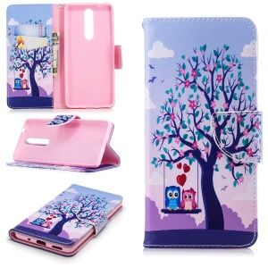 Pattern Printing Leather Wallet Cover for Nokia 5.1 - Tree and Owls