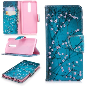 Pattern Printing PU Leather Wallet Stand Phone Cover for Nokia 5.1 - Tree with Flowers