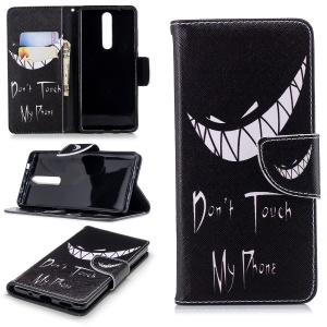 Pattern Printing PU Leather Wallet Stand Phone Case Shell for Nokia 5.1 - Angry Face