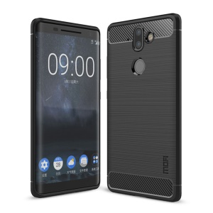 MOFI Carbon Fiber Texture Brushed TPU Cell Phone Case for Nokia 8 Sirocco - Black