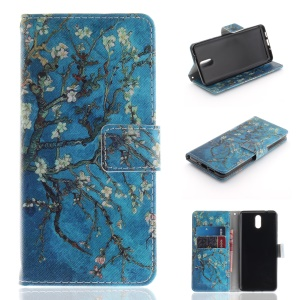 Pattern Printing Wallet Leather Cell Phone Case for Nokia 3.1 - Tree with Flowers