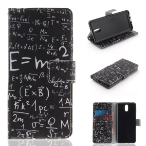 Pattern Printing Leather Wallet Case for Nokia 3.1 - Mathematical Symbol