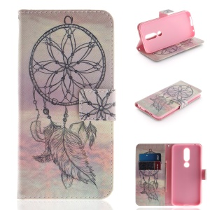Pattern Printing Wallet Stand Leather Case Accessory for Nokia X6 (2018) - Dream Catcher