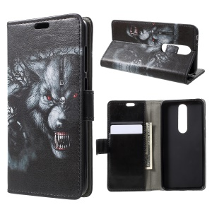 Pattern Printing Stand Leather Wallet Mobile Case for Nokia 5.1 Plus / X5 - Fierce Wolf